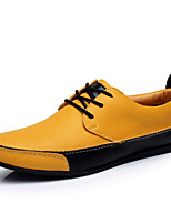 Men's Shoes Casual Leather Oxfords Black/Blue/Yellow