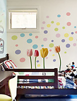 Wall Stickers Wall Decals Style Colored Flowers PVC Wall Stickers