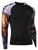 WHAT LEES Men's Sport Print Long Sleeve Regular T-Shirt