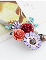 Women Romantic Flower Pearl Clip Alloy Hair Clip