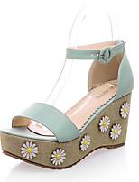 Women's Shoes Suede Wedge Heel Wedges/Platform Sandals Casual Blue/Purple/White