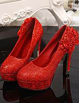 Women's Shoes Synthetic Chunky Heel Round Toe Pumps Wedding Red
