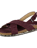 Women's Shoes Fabric Flat Heel Mary Sandals Outdoor/Casual Green/Gray/Burgundy
