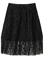 Women's White/Black Skirts , Casual Knee-length