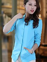 Women's Solid Blue/Black/Orange Blazer , Casual V Neck Long Sleeve