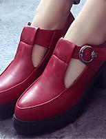 Scarpe Donna Finta pelle Quadrato A punta Scarpe col tacco Formale Nero/Borgogna