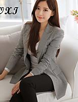 Women's Geometric/Polka Dot Pink/Gray Blazer , Sexy/Cute/Party/Work V Neck Long Sleeve