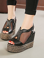 Women's Shoes Wedge Heel Round Toe Sandals Casual Black/White