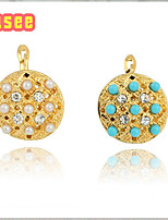 18K Golden Plated  Stud Earrings With Imitation Pearl