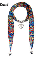 D Exceed Women' Fashionable Chiffion Scarves & New Boho Heart Pendent Long scarf