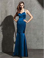 Formal Evening Dress - Ink Blue Fit & Flare Sweetheart/Spaghetti Straps Floor-length Satin