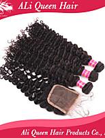 Ali Queen Hair Products 3Pcs 6A Brazilian Virgin Hair deep wave curly  Wifh 1Pcs 4*4 Swiss Lace Closures 100% human hair