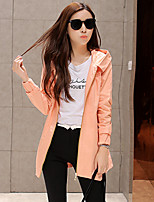 Women's Solid Trench Coat , Casual/Cute/Work Long Sleeve Cotton