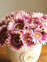 gerbera bouquet de tournesol fleurs de soie artificielle têtes avec des tiges (couleur aléatoire)