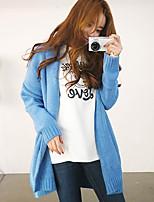 Women's Blue/Beige Cardigan , Casual/Party Long Sleeve