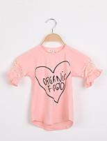 Tee-shirts Fille de Manches Courtes Eté Mélange de Coton