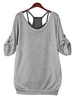 Women's Sexy Casual Cute Inelastic ½ Length Sleeve Regular Shirt (Acrylic)