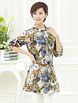 Women's Print Multi-color Blouse , Round Neck ½ Length Sleeve