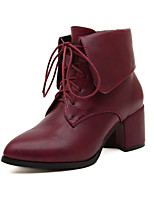 Women's Shoes  Chunky Heel Combat Boots/Pointed Toe Boots Casual Black/Burgundy