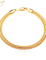 U7® Men's New Trendy Gold Foxtail Chains 3 Colors 18K Gold/Rose Gold/Platinum Plated Men Jewelry Chain Bracelets