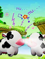 LED Milk Cow Keychain Cartoon Flashlight Sound Light Key Ring (Random Color)