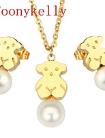 Toonykelly® Fashionable Stainless Steel Jewelry Set Pearl Mini Bear Pendant & Earring(1Set)