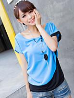 Women's Patchwork Blue/Red/Orange Blouse , Round Neck Short Sleeve