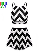 ZAY Women's Beach/Casual  Wave Stripe Sleeveless Two Piece Suits