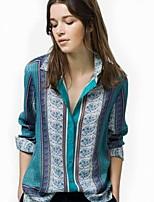 Fashion Women's Casual/Print/Work Micro-elastic Long Sleeve Regular Shirt (Cotton Blends)