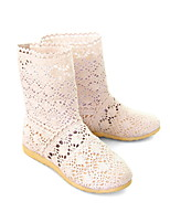 Women's Shoes Tulle Low Heel Round Toe Boots Casual Black/Pink/Beige/Orange