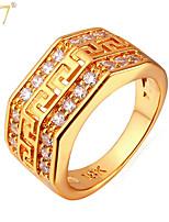 U7® Men's 18K Gold/Platinum Plated Fashion Rings Designs Men Jewelry Gifts G Pattern Zircons Vintage Band Rings