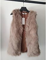 Fur Vests Vests Sleeveless Faux Fur Camel/Gray