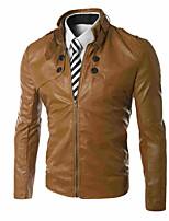 Men's Long Sleeve Jacket , PU Casual