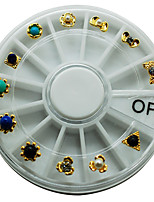 1 Piece New Wheel Nail Art Glitter Tips Rhinestones with Golden Metal Round Gems for Nail Art Nail Beauty