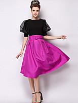 Women's Fashion solid Casual Micro-elastic Medium Midi Skirts (Twill)