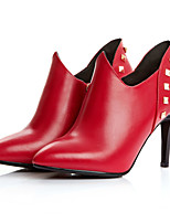 Women's Shoes Leather Stiletto Heel Heels/Pointed Toe Pumps/Heels Outdoor/Party & Evening Black/Red