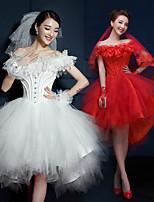 웨딩 드레스 - 루비(색상은 모니터에 따라 다를 수 있음)/화이트 A 라인 숏/미니 오프 더 숄더 튤