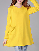 Women's Solid Blue/Yellow/Gray Blouse , Round Neck Long Sleeve Pocket/Layered