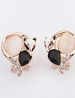 Women's European Style Exquisite Fashion Fox Alloy Stud Earrings With Rhinestone