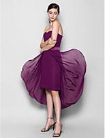 Asymmetrical Chiffon Bridesmaid Dress - Fuchsia Sheath/Column Sweetheart