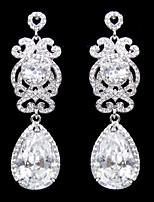 Vintage Women's Water Dorp Earrings Zircon Diamond Long Silver Earring For Wedding Bridal