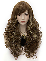 55cm Medium Long Curly Sexy Anime Cosplay Party Women Lady Harajuku Wig Mix Color
