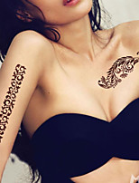 5Pcs   Waterproof Brown Pattern Temporary Body Art Tattoo Sticker