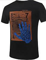 Tee-Shirt Décontracté/Grandes Tailles Pour des hommes Manches Courtes A Motifs Mélange de Coton