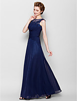 Sheath/Column Mother of the Bride Dress - Dark Navy Floor-length Sleeveless Chiffon