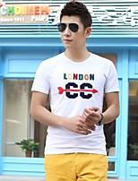 Men's Short Sleeve T-Shirt , Elastic/Lycra Casual Print