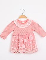 Girl's Cotton Blend/Mesh Dress , Summer Long Sleeve
