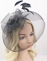 Women Fabric Headband , Party Mesh / Feather Veil Headpiece