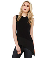 Women's Sexy Casual Cute Plus Sizes Inelastic Sleeveless Long Shirt (Polyester)