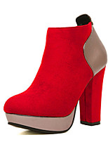 Women's Shoes  Cone Heel Bootie/Round Toe Boots Casual Black/Red
